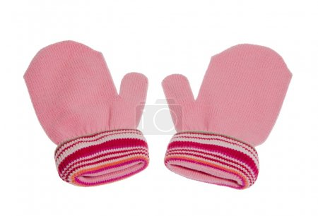 Photo for Pink Red gloves - mittens knitted for cold winter - Royalty Free Image