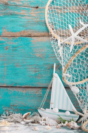 Sailboat with shells and fishing net