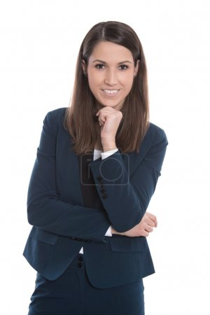 Portrait of a young smiling business woman isolated on white