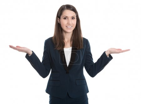 Questioner view of a young businesswoman presenting advantages a