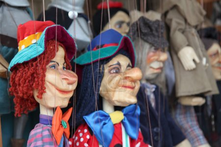Wooden marionette puppets...