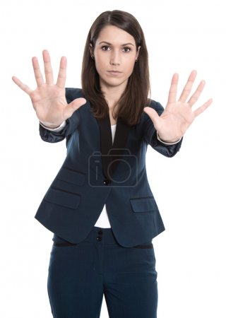 Woman isolated on white background says no for bullying
