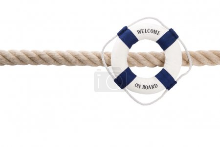 Welcome on board - isolated lifebelt for teamwork, holiday or tr