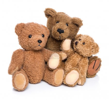 Three teddy bears isolated on white - concept for happy family.