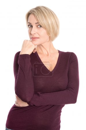 Face of a sad older woman isolated on white.
