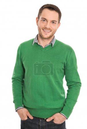 Photo pour Stagiaire sourire satisfait, isolé sur blanc. - image libre de droit