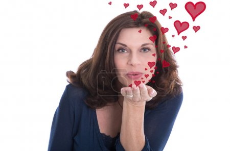 Older woman isolated with a kissing mouth and red hearts.