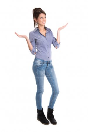 Happy young girl in full body length is amazed about news.