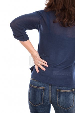 Woman isolated with backache or kidney infection.