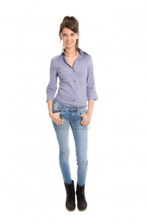 Photo for Attractive businesswoman in blue jeans and full body length isolated on white background. - Royalty Free Image