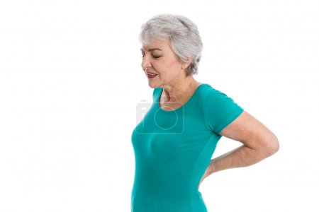Isolated older woman with backache.
