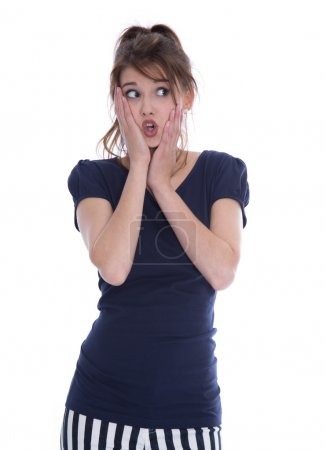 Shocked isolated young woman in panic looking sideways.