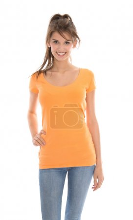 Photo for Portrait of a pretty young girl in orange shirt isolated over white. - Royalty Free Image