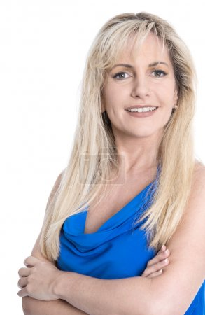Photo for Portrait of satisfied businesswoman with crossed arms isolated over white. - Royalty Free Image