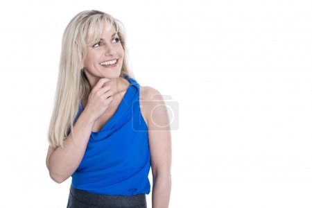 Isolated pretty blond business woman with sideways view.
