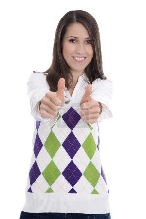 Photo pour Une jeune femme isolée a réussi son examen avec succès - pouces levés . - image libre de droit