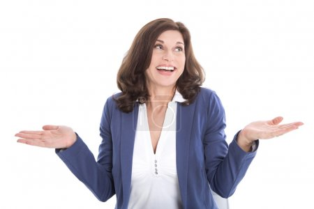 Satisfied middle-aged woman in blue - isolated over white backgr