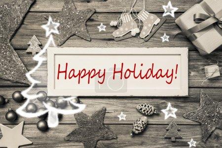 Photo pour Joyeuses fêtes - carte de Noël chic et minable en gris, rouge et blanc . - image libre de droit