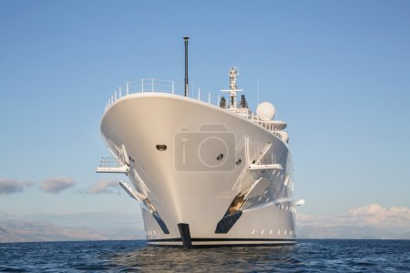Gigantic big and large luxury mega or super motor yacht on the o