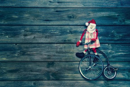 Christmas: Wooden vintage background with a santa ...