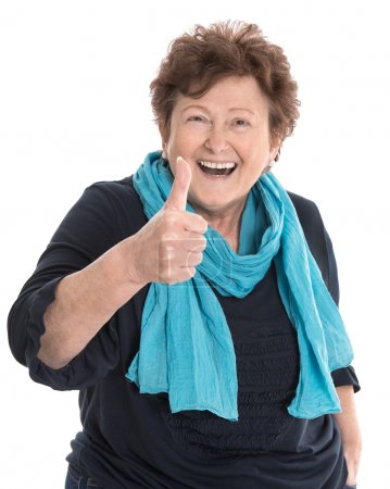 Happy isolated older lady wearing blue clothes wit...
