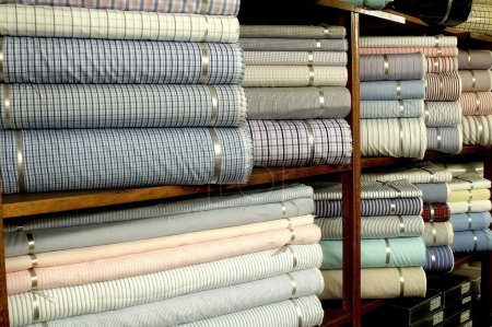 Colorful textile on shelves