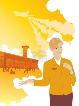Aeroport stewardess travel plane