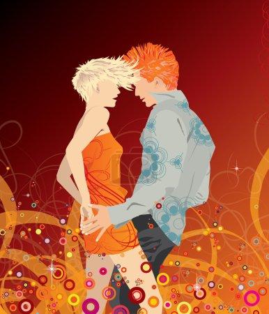 Illustration pour Fêtes gens danse amour musique - image libre de droit