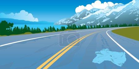 Road landscape crash danger mountains way
