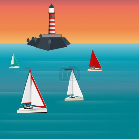 Lighthouse sailboat