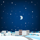 Vector illustration of winter town landscape