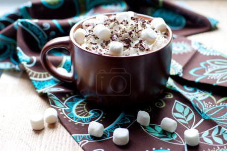 Hot chocolate with marshmallow and whiped cream