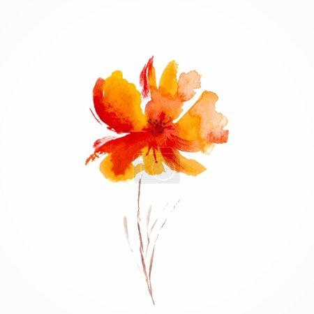 Photo pour Fleur peinte à l'aquarelle - image libre de droit