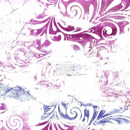 Floral pattern. Grunge floral background.