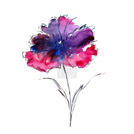 Photo pour Aquarelle fond floral. Carte d'anniversaire floral - image libre de droit