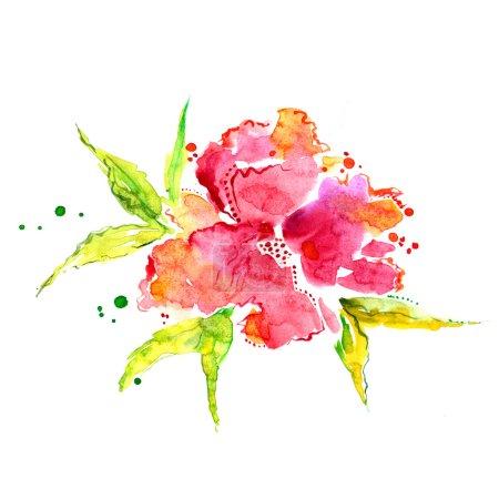 Photo pour Fleurs rouges. Illustration aquarelle - image libre de droit