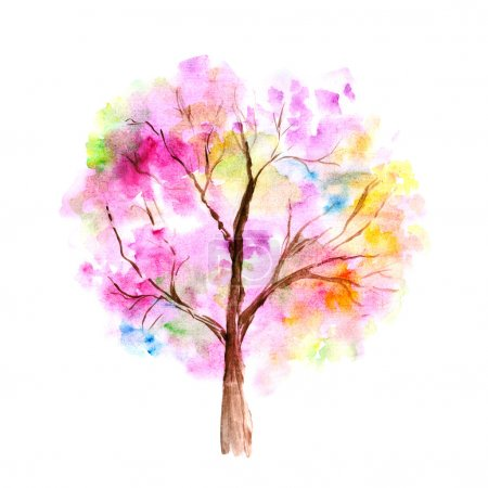 Photo for Colorful watercolor tree background - Royalty Free Image