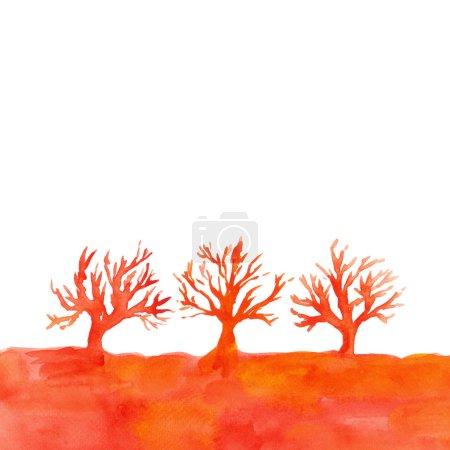 Photo pour Paysage aquarelle avec arbres. Arrière-plan avec silhouettes d'arbres . - image libre de droit