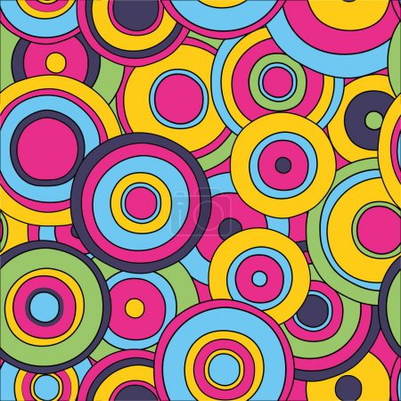 Illustration for Psychedelic circles seamless pattern, editable, vector eps10 - Royalty Free Image
