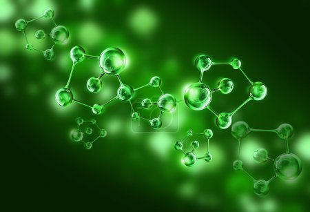 Green molecule dna cell illustration