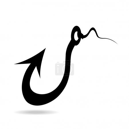 Perspective fishing hook icon
