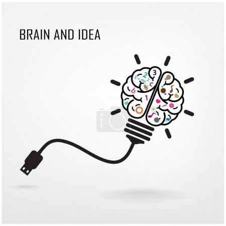 Illustration pour Creative brain Idea concept background design, idée d'entreprise, illustration abstraite background.vector - image libre de droit