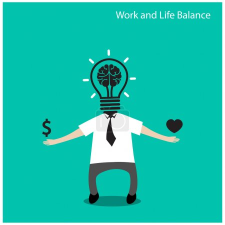 Illustration for Work and life balance concept,businessman icon,business concept,cartoon concept.vector illustration - Royalty Free Image
