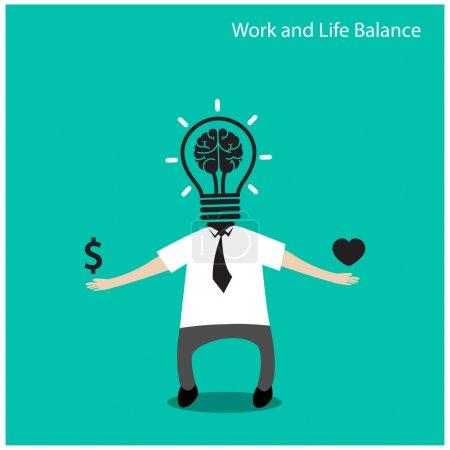 Illustration pour Concept d'équilibre entre vie professionnelle et vie privée, icône de l'homme d'affaires, concept d'entreprise, illustration concept.vector de dessin animé - image libre de droit