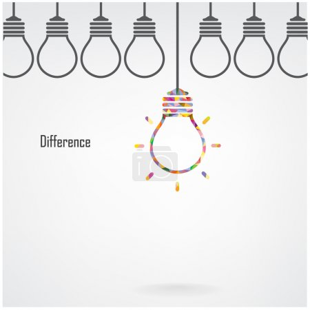 Creative light bulb idea and difference concept