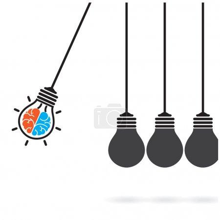 Newton's cradle concept on background,creative light bulb Idea c