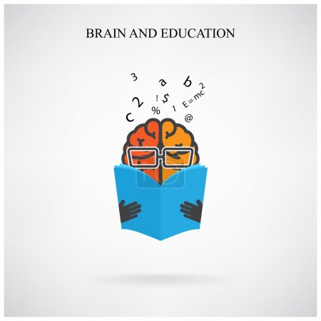 Creative brain sign and book symbol on background, design for po