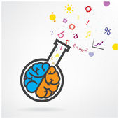 Creative left and right brain sign with the test tube on grey ba