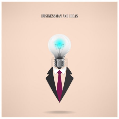 businessman symbol with creative light bulb sign
