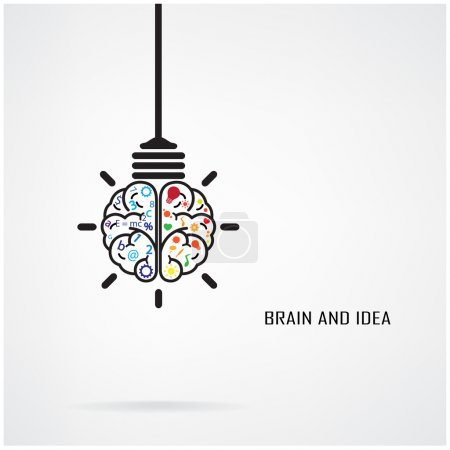 Illustration for Creative brain Idea and light bulb concept, design for poster flyer cover brochure, business idea, education concept.vector illustration - Royalty Free Image